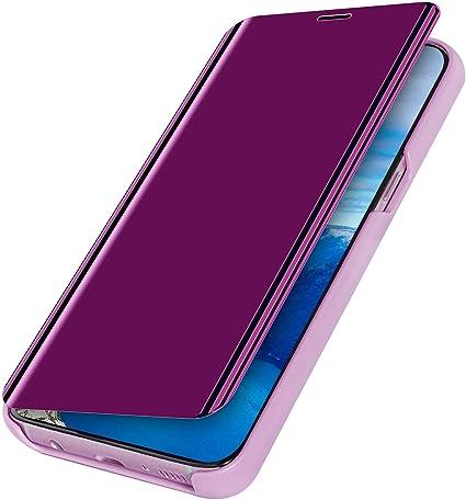 MoreChioce compatible avec Coque Samsung Galaxy A10S,Coque Miroir compatible avec Galaxy A10S,Bling Glitter Strass Chrom Violet Clair Housse /à Rabat Clapet Case Protective Flip Wallet Magn/étique