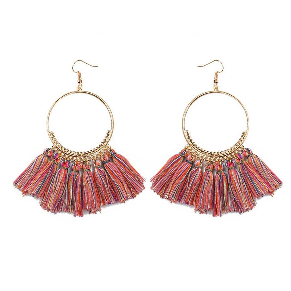 ROWAG Novelty Women Semicircle Fan Shape Tassel Earrings Bohemian Statement Fringe Thread Drop Earrings Wang Rong TasselEarrings28