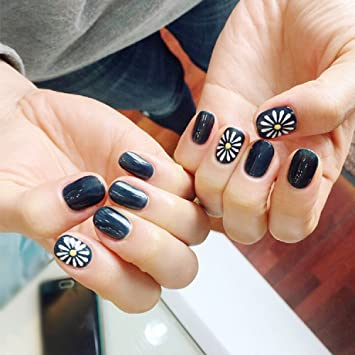Mimei 24pcs Painted False Nails Dark Blue And White With Daisy