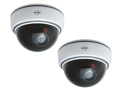 Juego de 2 de cámara domo falsa Blanco con Blink LED, pilas, incluye material de montaje & Seguridad decorativo para: Amazon.es: Bricolaje y herramientas