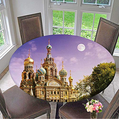 (Mikihome Modern Table Cloth Church of The Saviour on Spilled Blood or Cathedral of The Resurrection of Christ Indoor or Outdoor Parties 63