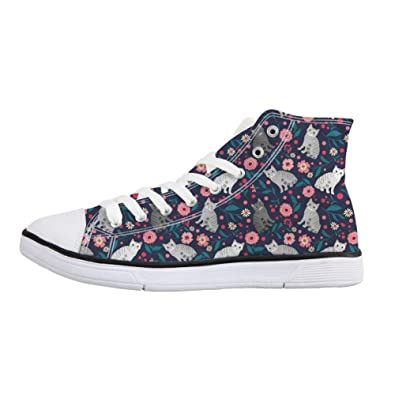 d331aadaf321 Coloranimal Classic High Top Canvas Shoes American Shorthair Cat Flower  Pattern Teenager Girls Lace Up Vulcanized
