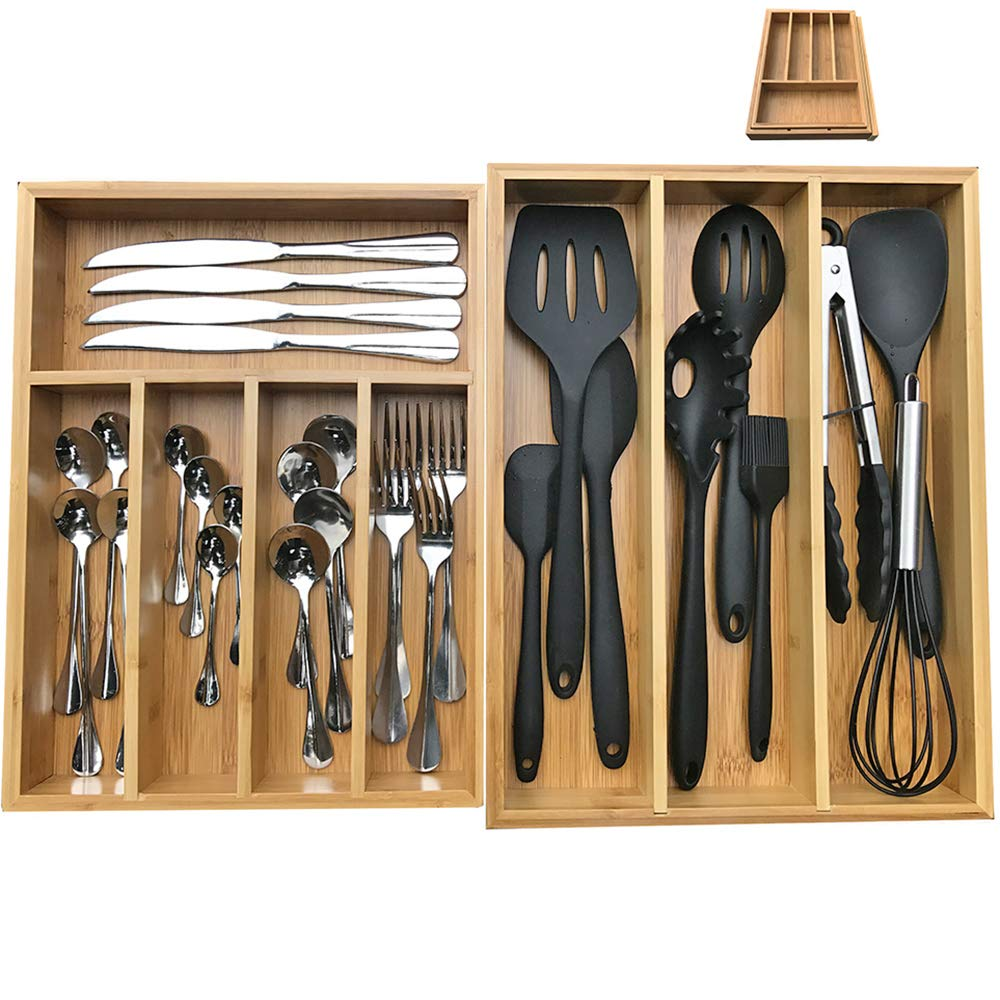 Bamboo Silverware Organizer, Kitchen Cutlery/Utensil/Flatware Drawer Organizer and Storage,Large Wide Organization and Tray Holder Set of 2