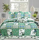 Cozy Line Home Fashions Greenfields Real Patchwork Quilt Bedding Set, 3D Green Garden Lace Leaf Flower Printed, 100% COTTON Reversible Bedspread Coverlet Gifts Women (Green Garden, Queen -3 piece)