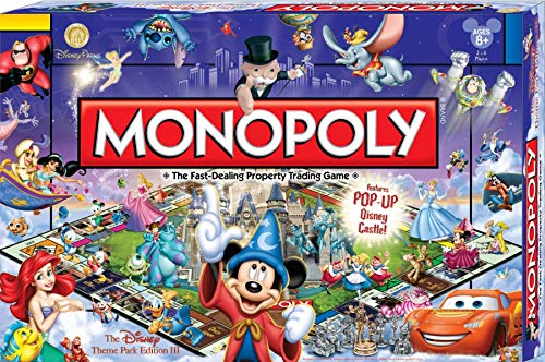 - Disney Theme Park Monopoly Board Game. Own it All As You Buy Your Favorite Disney Attractions. Disney Theme Park Edition III. Features Pop Up Disney Castle