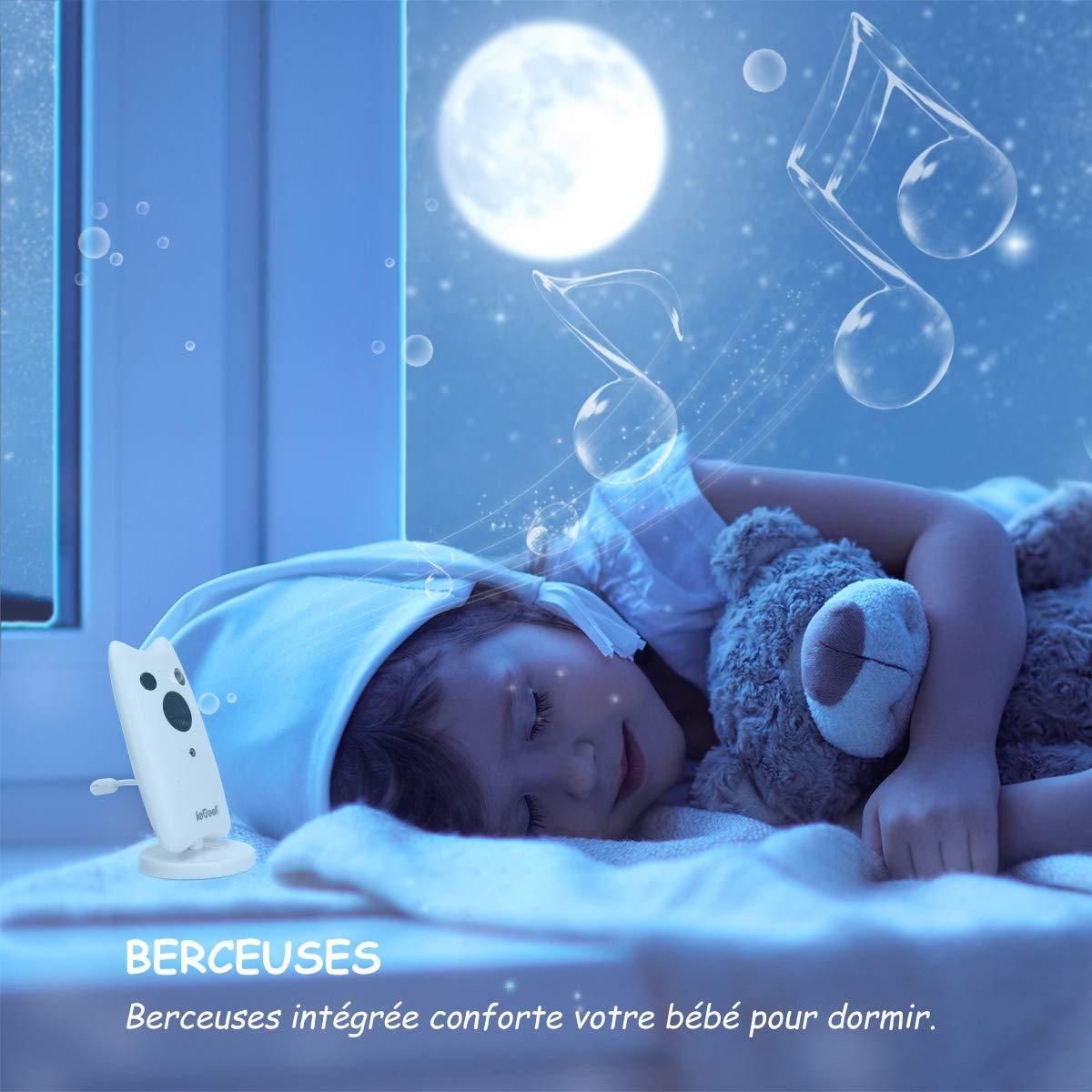 Capteur de Temp/érature Rechargeable Vision Nocturne 2.4 LCD Communication Bidirectionnelle ieGeek Portable Ecoute B/éb/é avec Prendre des Photos Fonction Babyphone Cam/éra Sans Fil Berceuse
