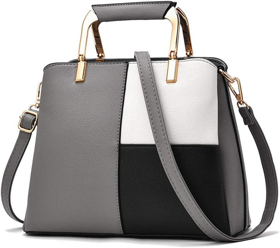 Jeenwicuoy Patchwork Leather Handbag for Women Girl Shoulder Bag Female