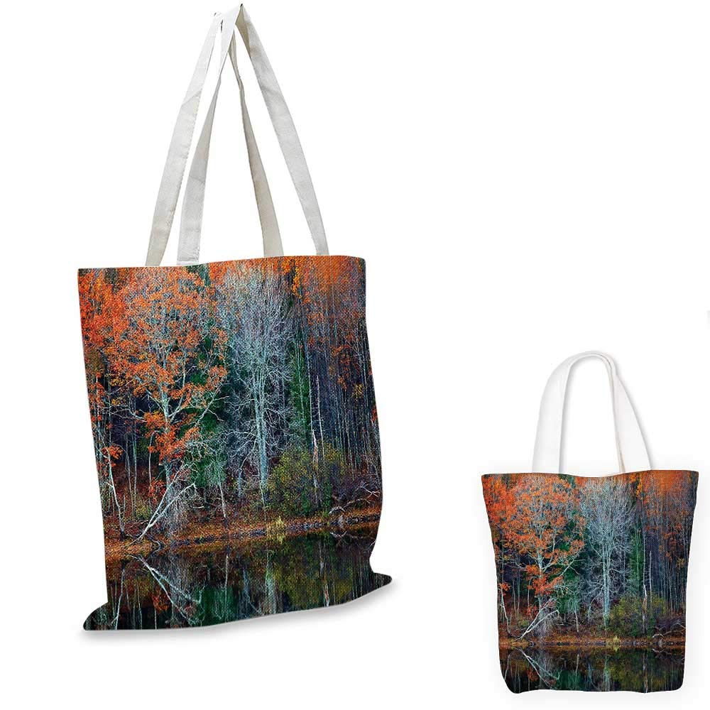 Leaves canvas messenger bag Magical Forest with Tree Reflections over the Lake Rural Forest Charm Scenic Concept canvas beach bag Brown Red 12x15-10