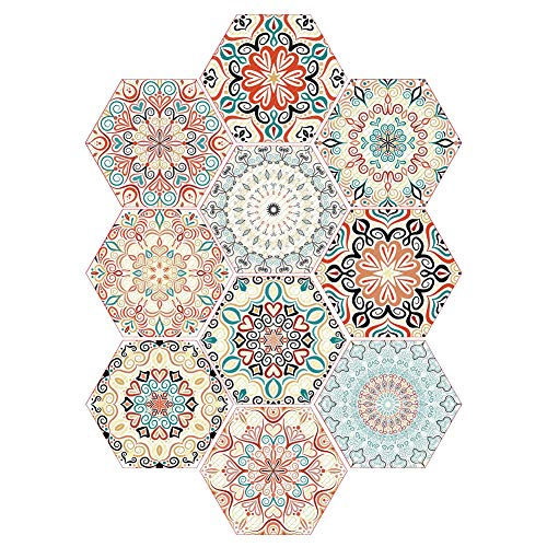 youta Mandala Decorative Wall Decals Tile Stickers Waterproof Removable Home Furniture Decor Peel Wall Stick Adhesive Tile Stickers Set 10 of 7x9 inch (Decal Mandala Wall)