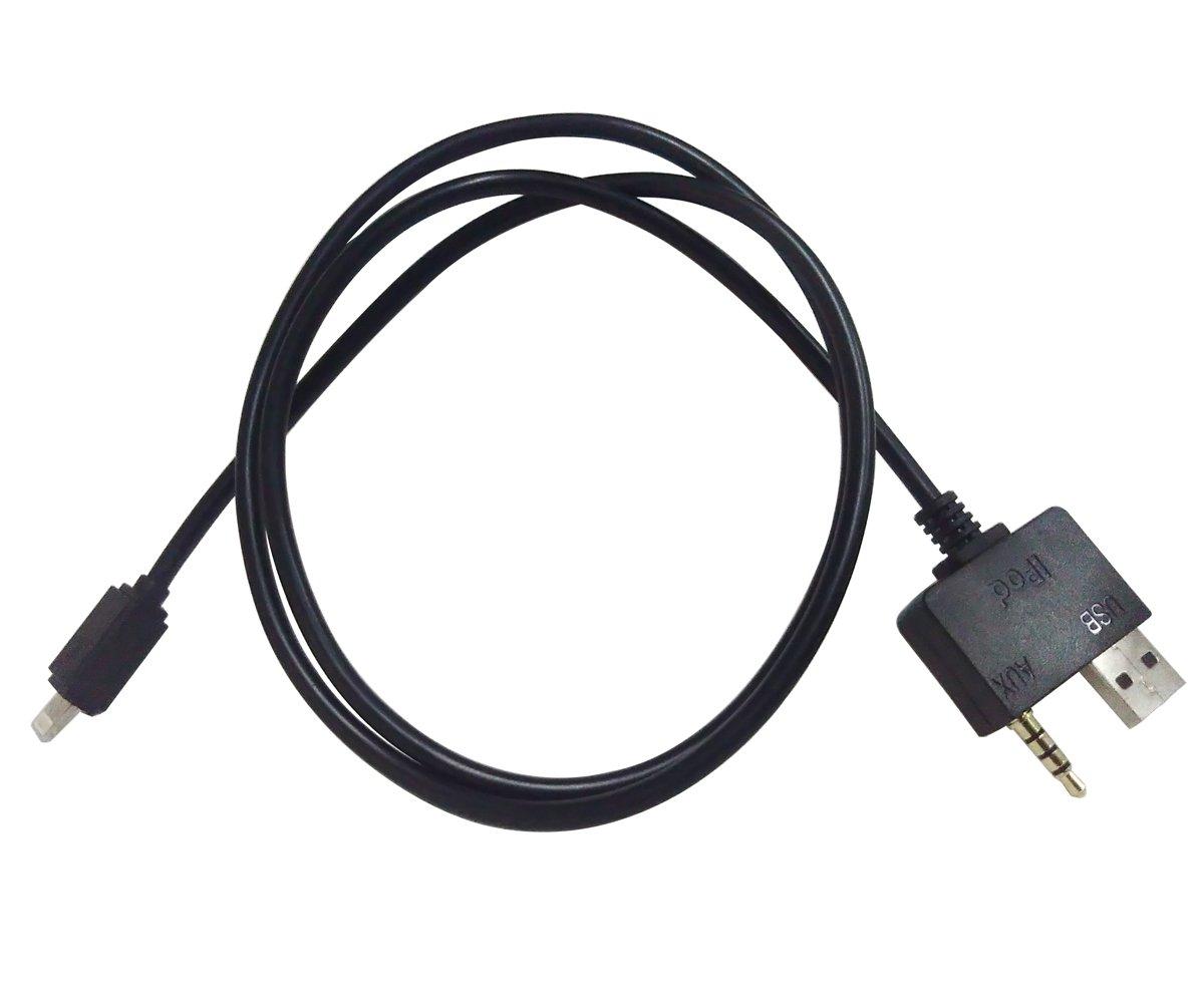 Vzer 3, 5 mm et USB chargeur de voiture ami Music Interface câ ble auxiliaire pour iPhone 7/7 Plus pour Hyundai et Kia –  Noir