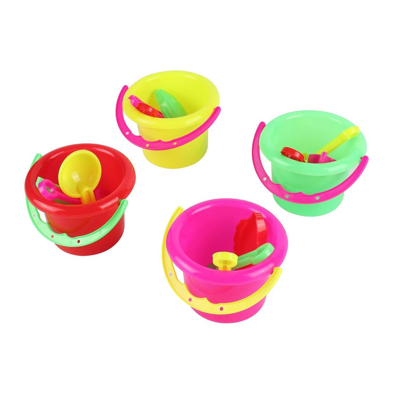 MXECO 4pcs de la Novedad Mini Juguetes de Playa de Arena Conjunto Cubos Cubo con la Pala Rastrillo Piscina de Verano Playa de Arena Juego Juega el Regalo de la Vida de los ni/ños Los ni/ños Rone