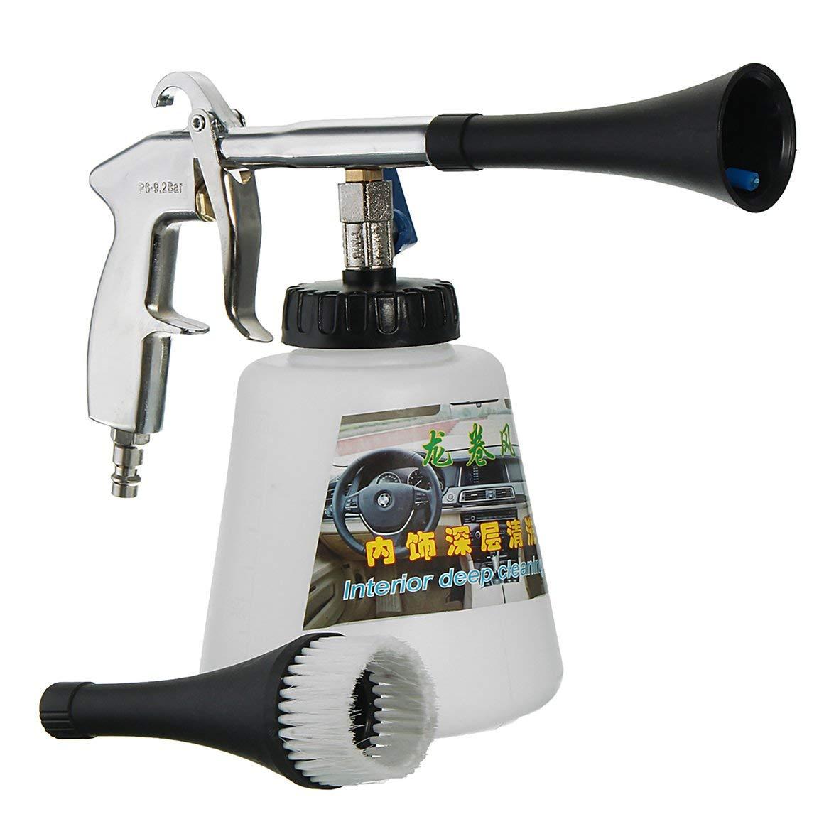 Funnyrunstore Pistola de limpieza de automó viles con pulso de aire de alta presió n, con cepillo, superficie multifuncional, kit de limpieza de interiores, tipo UE, blanco y negro