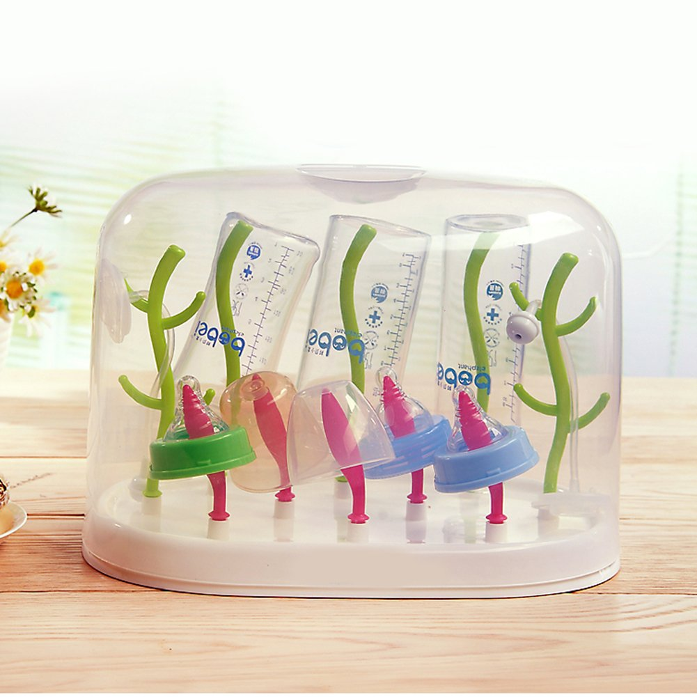 Johnnyhh Multi-Functional Anti-Bacterial Baby Bottle Drying Rack With Dust Cover JH161018MFABB