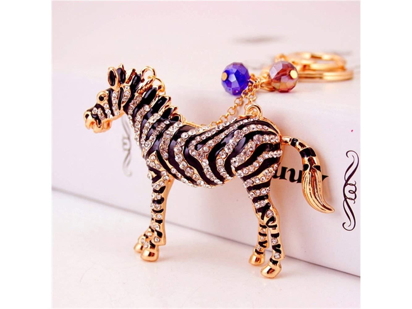 Special Cute Exquisite Zebra Keychain Animal Key Trinket Car Bag Key Holder Decorations(Black) Bag Pendant