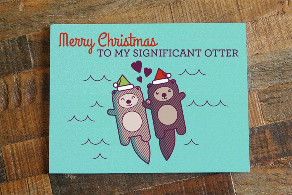 Merry Christmas to my Significant Otter Cute Otters Holding Hands Christmas Card