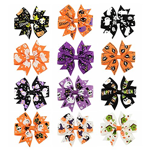 FXmimior 12pcs Halloween Big Bow Hair Clips Pumpkin Ghost Hair Bow Girls Dance Halloween Party Hair Accessories Headwear Women Costume ()