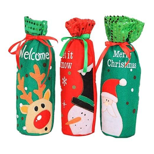 Juego de 3 bolsas para botellas de vino de Navidad con ...
