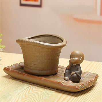 Marvelous Amazon Com Bamboo Buddhist Monk With Tray Green Plant Interior Design Ideas Oteneahmetsinanyavuzinfo