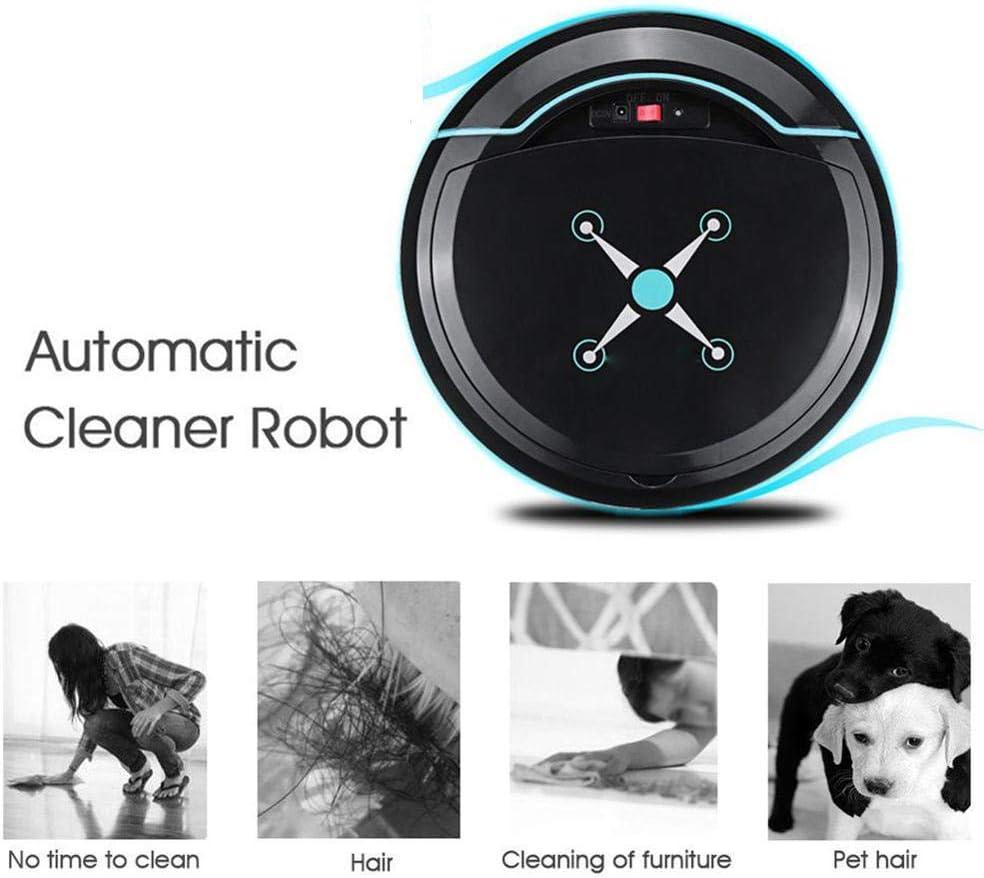 LIERSI Aspirateur Robot Super Silencieux D\'aspiration Puissant, Robot Aspirateur Mop avec Double Anti Collition Système pour Cheveux pour Animaux/Dur/Tapis Floors,Noir White