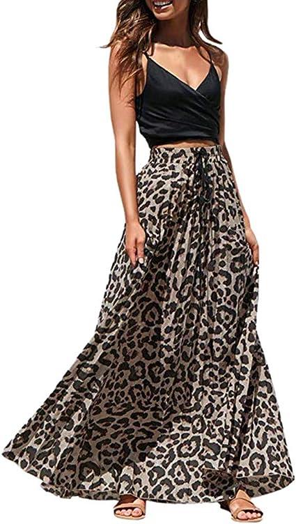 Amuster - Maxifalda para Mujer, Estampado de Leopardo, Falda Larga, para Fiestas, Bodas o cócteles, Cintura Alta, Bohemio