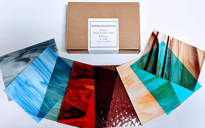 Stained Glass Tools// Supplies Glass Pack 7 Popular Selected Colours b