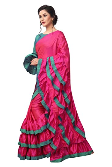 09cdda876f9ad3 AnK Women s New Pattern ruffle Silk Saree With Blouse (Pink Firozi)   Amazon.in  Clothing   Accessories