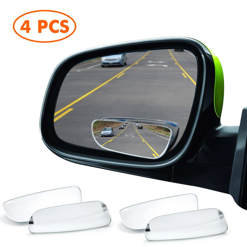 4 Pack MysBiker Blind Spot Mirrors,Car Mirror Side View Blind Spot,Wide Angle Car Wing Mirror Blind Spot Stick On Side Mirror,Suitable for All Car SUV Trucks Motorcycle