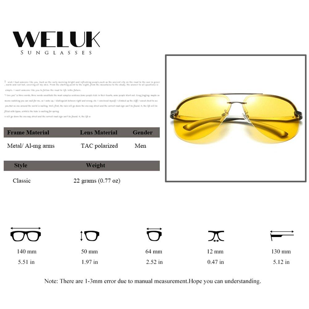 WELUK Mens Night Vision Glasses Polarized Yellow Aviator Sunglasses for Driving
