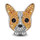 "Image of NinaQueen ""Puppy Bolt"" 925 Sterling Silver Orange Cubic-Zirconia [Happy Family] Chihuahua Charms, Cute Animal Charms Ideal Gift for Women and Girls, gifts for mom"