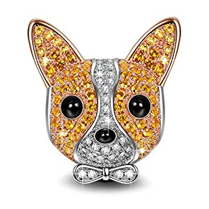 NINAQUEEN Chihuahua Bolt 925 Sterling Silver Charm Rose Gold Plated Puppy Dog Charms ♥Happy Family♥Animal Bead with 5A Cubic Zirconias