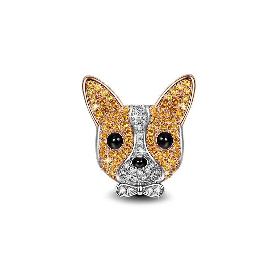NINAQUEEN Chihuahua Bolt 925 Sterling Silver Christmas Charm Gifts Rose Gold Plated Puppy Dog Charms ♥Happy Family♥Animal Bead with 5A Cubic Zirconias