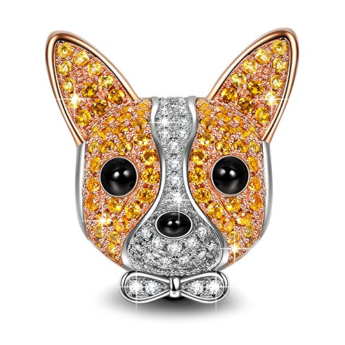NINAQUEEN Chihuahua Bolt 925 Sterling Silver Rose Gold Plated Puppy Dog Charms ♥Happy Family♥ Animal Bead Charm with 5A Cubic Zirconias