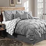hampton house - House of Hampton Stylish Premium Quality Elegant Germain Grey, King Size 7 Piece Reversible Comforter Set, 1 Comforter, 2 shams, 3 decorative pillows, and 1 bed skirt
