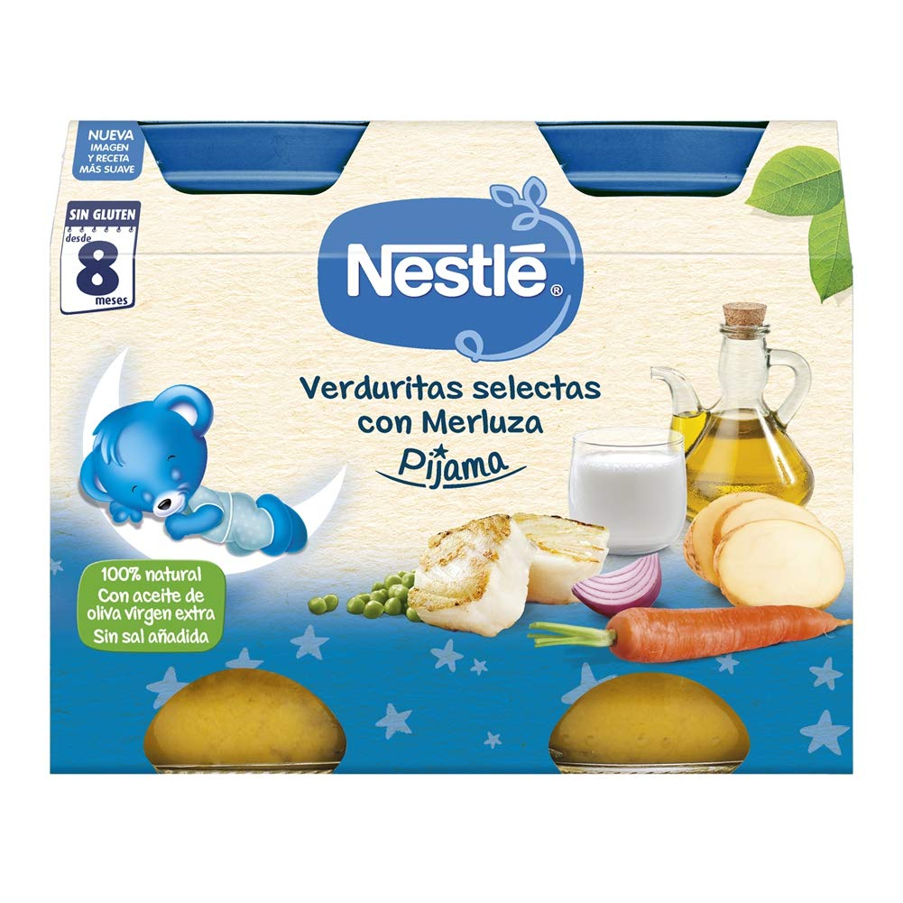 Nestlé Naturnes - Cena Verduritas Selectas con Merluza - A Partir de 8 Meses - Pack de 3 x 400 g
