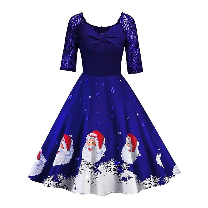 CICIYONER Vestido de Fiesta del Vestido del Vintage de la impresión del Remiendo del cordón de la Manga de Las Mujeres de la Navidad Medio: Amazon.es: Ropa ...