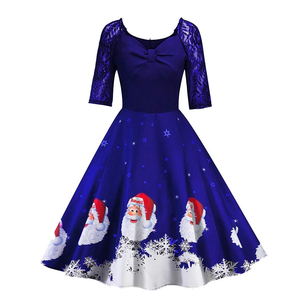 TIFENNY Christmas Women's Half Sleeve Lace Patchwork Printing Vintage Gown Party Dress Tops
