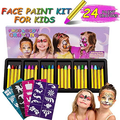RIZON Face Painting Kit 24 Colors, Kids Face Body Paint Crayons with 40 Tattoo Stencils, 100% Safe & Non-Toxic Face Paint Sticks for Makeup Party Cosplay Halloween Christmas -