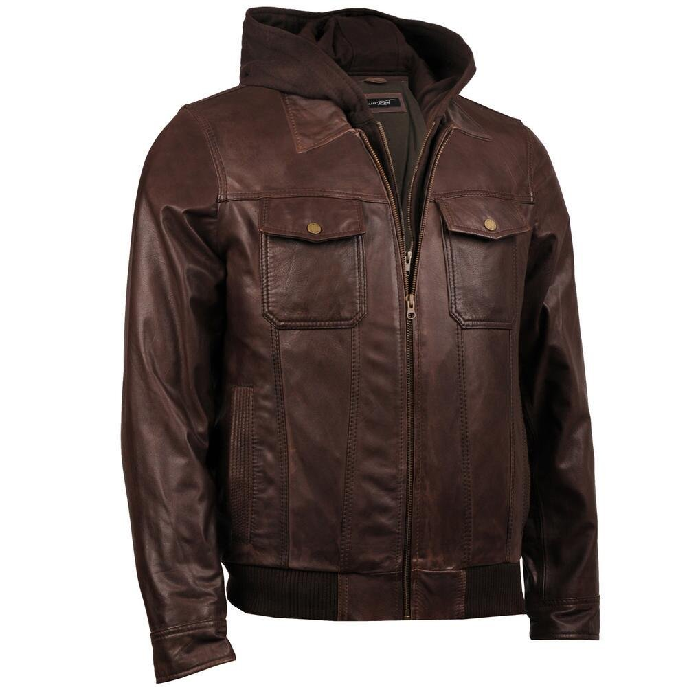 Black Rivet Mens Jumble Hooded Leather Bomber 2XL Brown