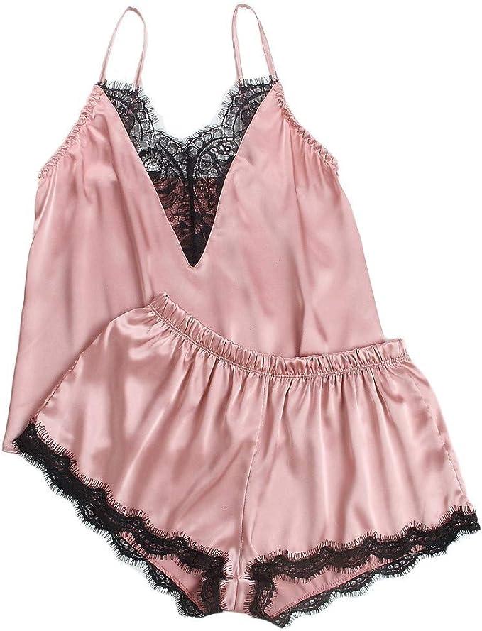 Nachthemd Nachtwäsche Pyjama-Set Shorts Tops Kleidung Spitze Nachtwäsche