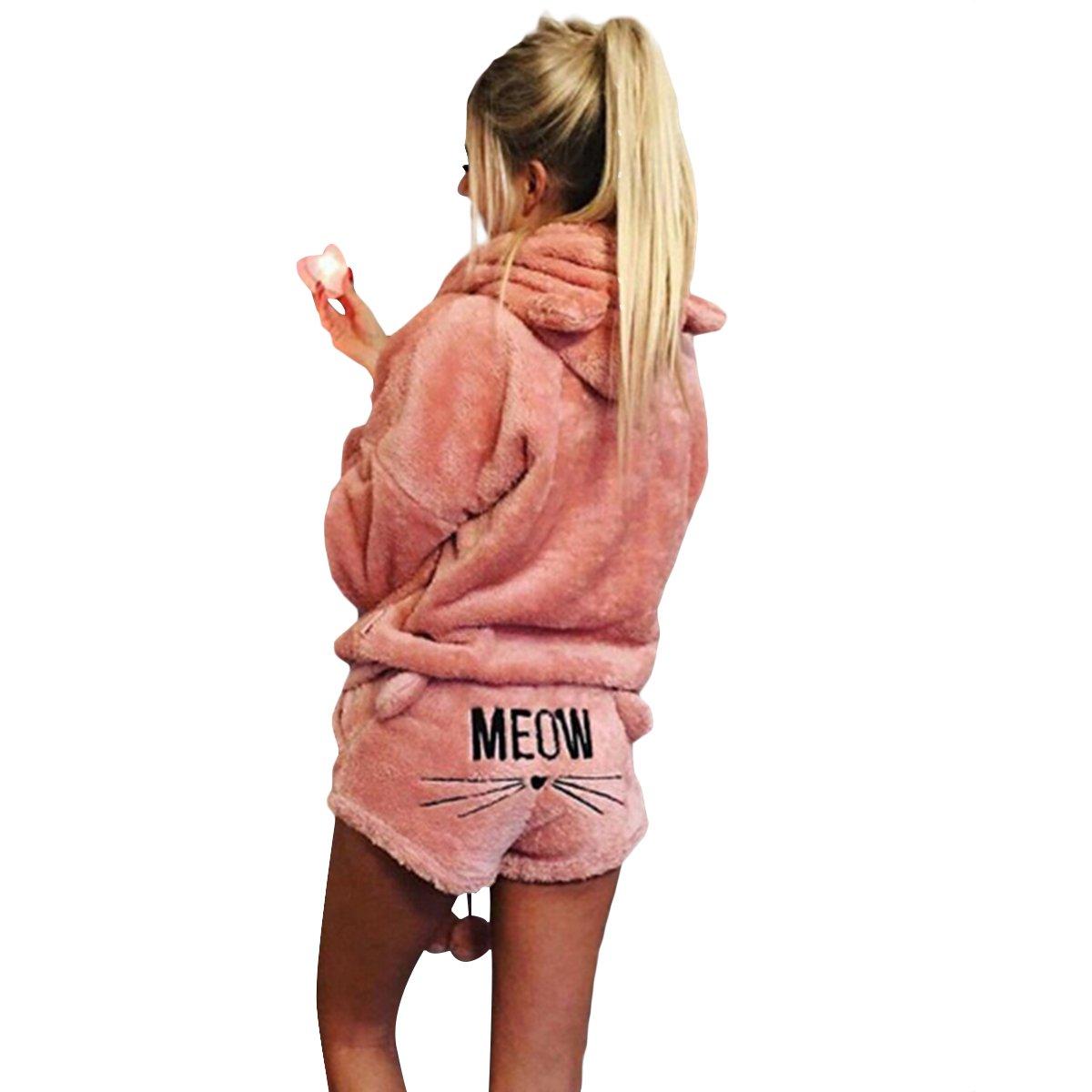 économiser jusqu'à 60% rechercher le meilleur plus récent Yogurt Women's Fleece Pajamas Suit Cute Meow Long Sleeve Hooded Sleepwear  Set Shorts