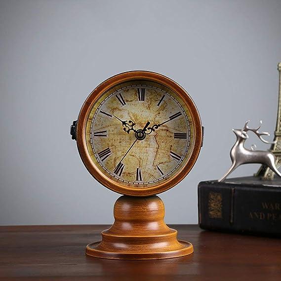 Amazon.com : Family Fireplace Clocks Double-Sided Desktop Watch Tablecloth Clocks Living Room Retro Wood S ó LIDA Silent Clock Decoration ó Desk n Suitable ...