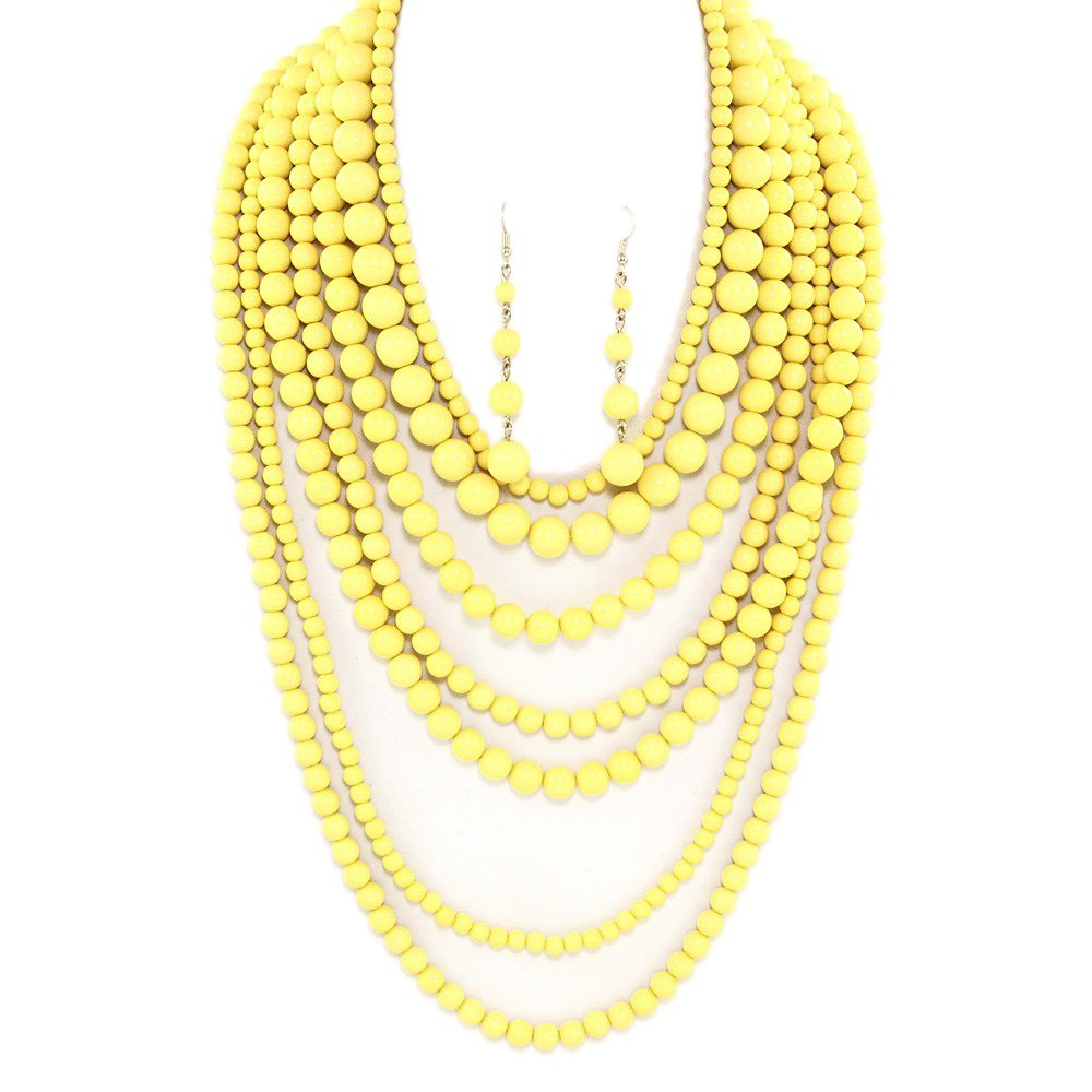 Statement Beaded Layered Strands Yellow Color POP Pearl Beads Long Gold Chain Necklace Earrings Set (Yellow)