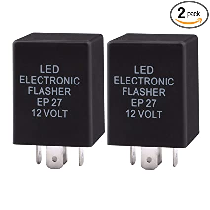 Sdootauto 2 Pack LED Electronic Flasher 5 Pin, EP27 FL27 Electronic LED  Bulb Flasher Relay Used for LED Turn Signal Light Bulbs Hyper Blinking Flash