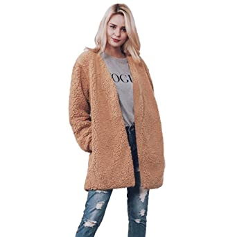 Mantel Damen Kolylong® Frauen Elegant Lange Wollmantel Herbst Winter Warm  Plüsch Mantel Locker Verdickte Jacke 738de80076
