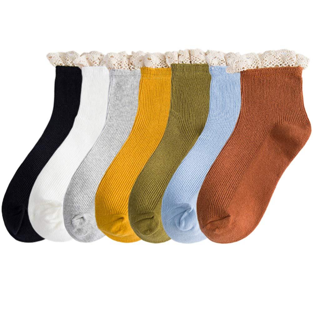 Womens Socks Low Cut Socks Turn-Cuff Ankle Socks Cotton Crew Socks 6 Pairs for Ladies Women Girls Lightweight Elastic Solid Color