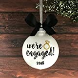 Engaged Ornament, Engagement Christmas Ornament, Personalized Engagement Ornaments