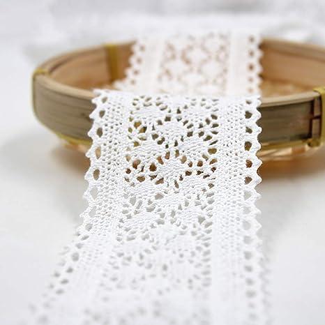 Outtybrave - Cinta de Encaje de algodón Blanco de 6 cm de Ancho ...