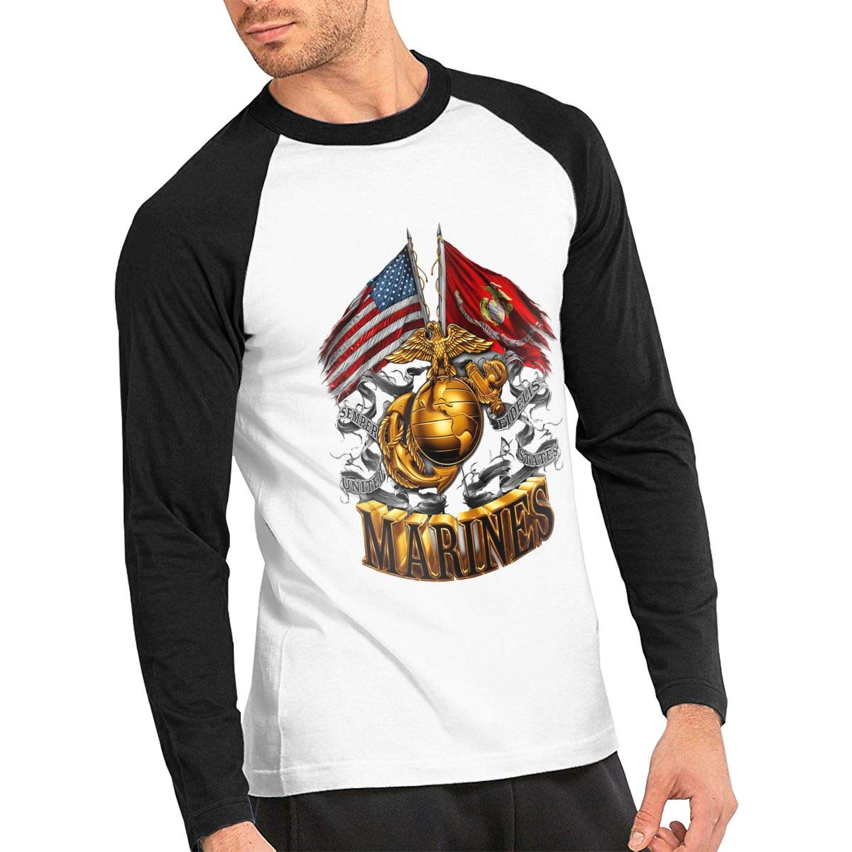 Marine Corps Gold Globe Patriotic Male Long Sleeves Tees Crew Neck Baseball Tees Raglan T-Shirt