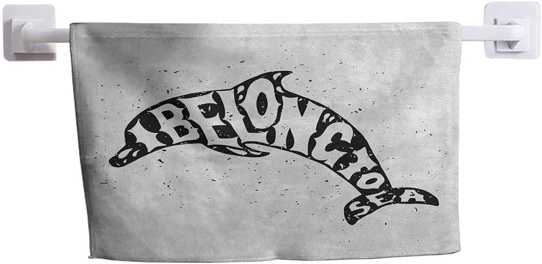 """DayDayFun Custom Towel Dolphin Comfortable Soft Towel Monochrome Ocean Creature with Cool Quote I Belong to Sea Vintage Design Print 10"""" x 10"""" Black White"""