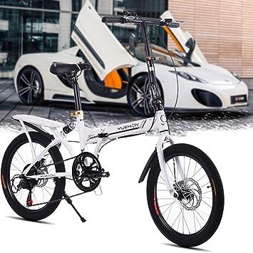 LETFF Bicicleta Plegable para Adultos 20 Pulgadas para Hombres y Mujeres(White)